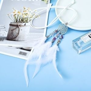 White Feather Dream Catcher Necklace Gift